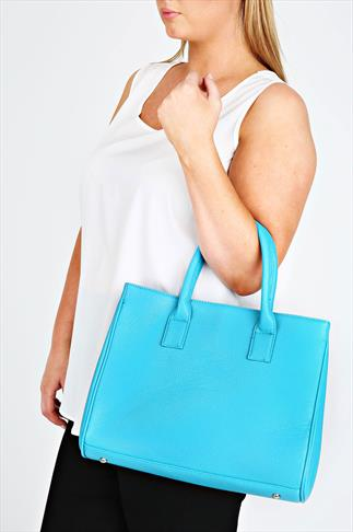 Blue Tote Bag With Popper Fastening And Studded Feet