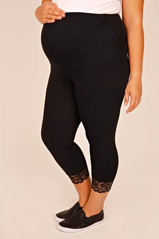 BUMP IT UP MATERNITY Black  Cropped Leggings With Lace Panel
