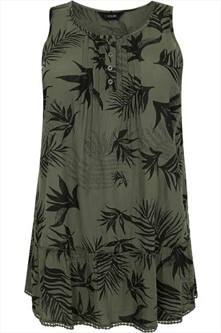 Khaki & Black Leaf Print Sleeveless Longline Top
