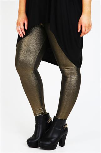 Gold Foil Print Leggings