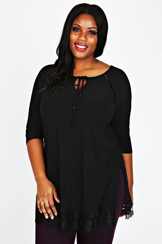 Black 3/4 Sleeve Longline Top With Lace Hem