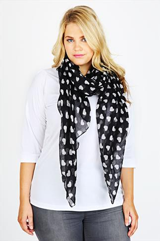 Black & White Heart Print Scarf