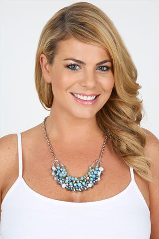 Silver & Blue Glass Bead Statement Necklace