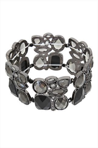Black & Opaque Assorted Stone Stretch Bracelet
