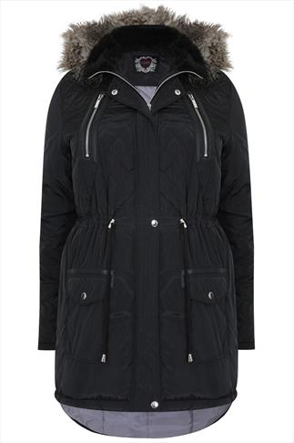 Black Quilted Parka With Fur Hood