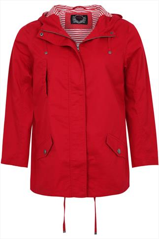 Red Lightweight Cotton Parka Jacket With Hood
