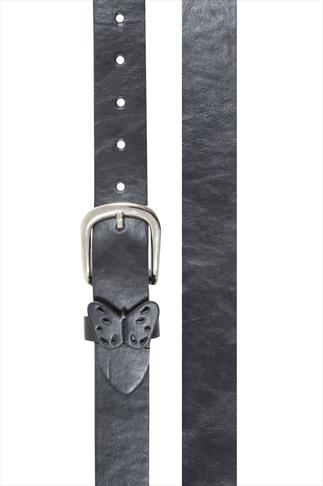 Black Butterfly Detail PU Jean Belt