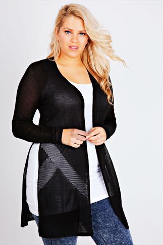 Black Longline Cardigan With Pointelle Detail
