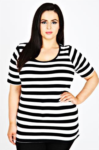 Black & White Striped Short Sleeve Scoop Neck Basic T-shirt