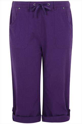 Purple Cool Cotton Roll-Up Crop Trousers With Stud Detail