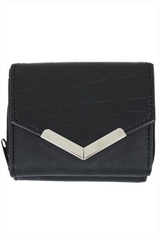 Black Small Purse With Textured Flap And Metal Trim Detail