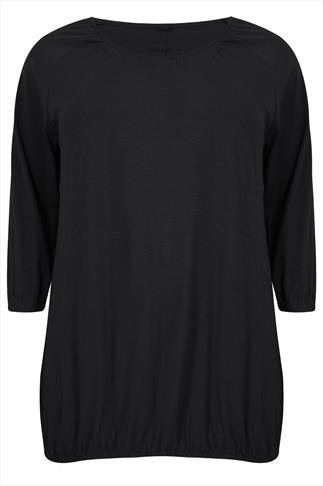 Black 3/4 Sleeve Top With Bubble Hem