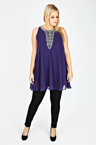 Purple Chiffon Sleeveless Tunic With Silver Embellishment