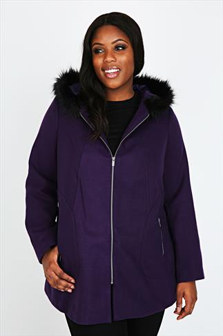 Purple Swing Coat With Black Fur Trim Hood
