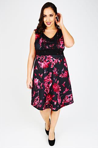 Black & Dark Pink Floral Print Lace Panel Skater Dress