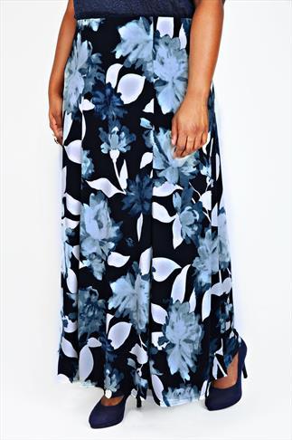 Black & Light Blue Floral Maxi Panelled Skirt