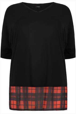 Black 3/4 Sleeve V Neck Top With Tartan Hem