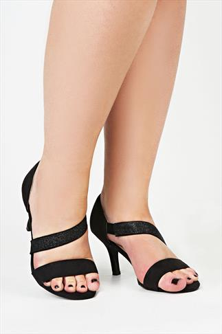 Black Strappy Sateen Sandals With Glitter Detail In EEE Fit
