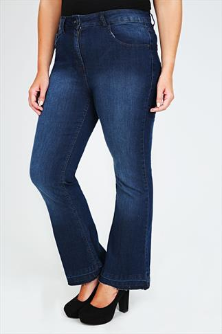 Indigo Flared Jeans With Fading & Raw Edge Cuffs