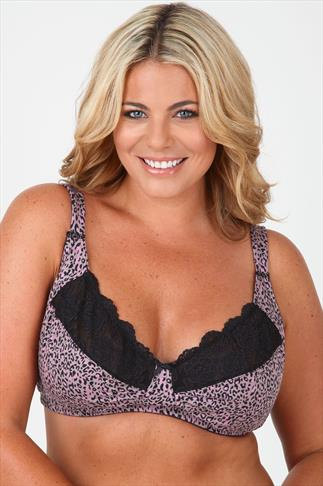 Black & Pink Animal Print Non-Wired Soft Cup Bra With Lace