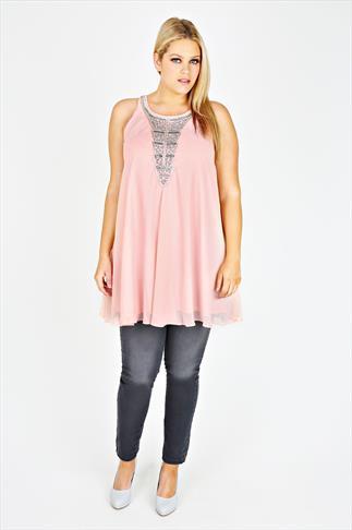 Pastel Pink Chiffon Sleeveless Tunic With Silver Embellishment