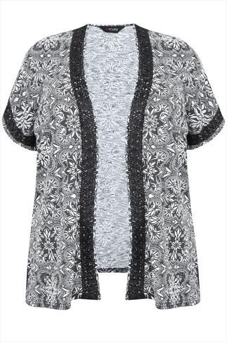 Black & White Printed Jersey Kimono With Emroidered Trim