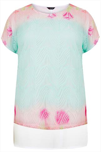 Pastel Pink & Green Knit Top With Chiffon Underlay