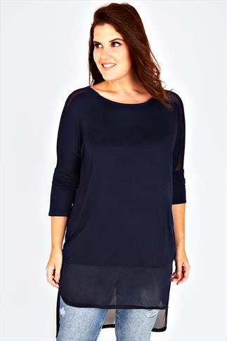 Navy Longline Top With Sheer Panels And Dipped Hem