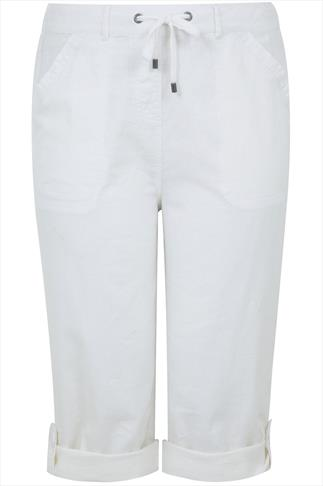 White Linen Mix Roll-Up Cropped Trousers With Stitch Detail