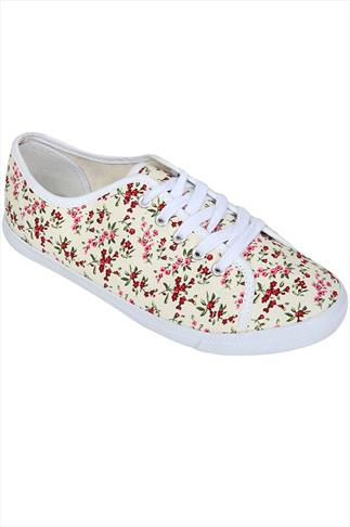 Cream & Pink Ditsy Floral Lace-Up Canvas Pumps In EEE Fit