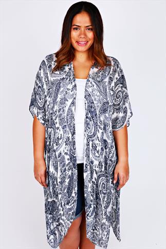 Blue & White Paisley Print Lightweight Kimono Wrap