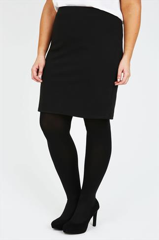 Black Ponte Pull On Short Pencil Skirt