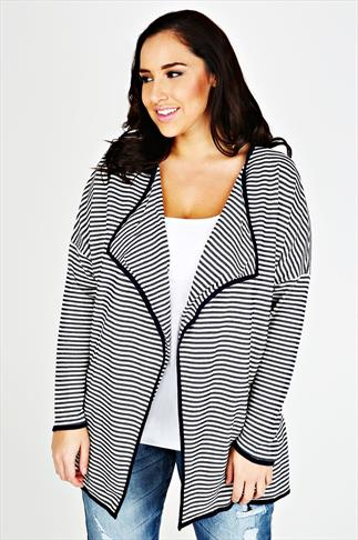 White & Navy Striped Waterfall Front Jacket