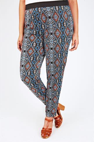 Black, Blue & Orange Aztec Print Jersey Harem Trousers
