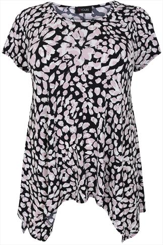 Black & Pink Petal Print Longline Top With Hanky Hem