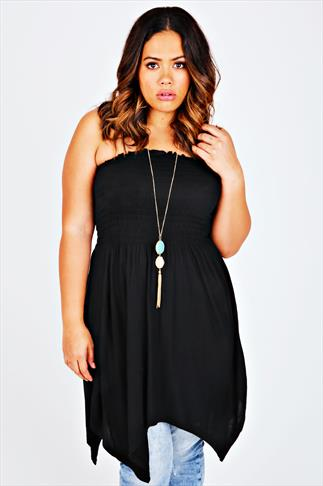 Black Strapless Top With Hanky Hem