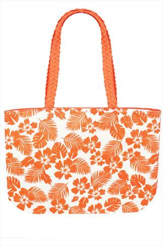 Orange And White Floral Print Shopper Bag
