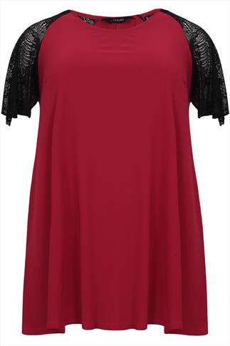 Red Longline Top With Black Lace Sleeves