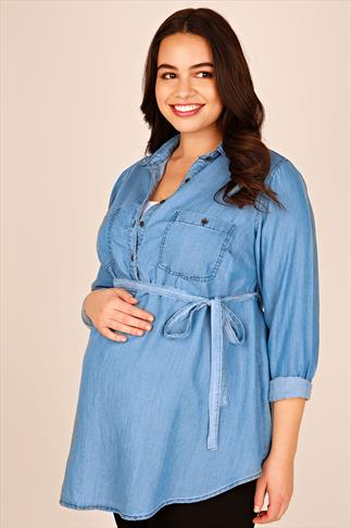 BUMP IT UP MATERNITY Denim Blue Longline Shirt With Waist Tie