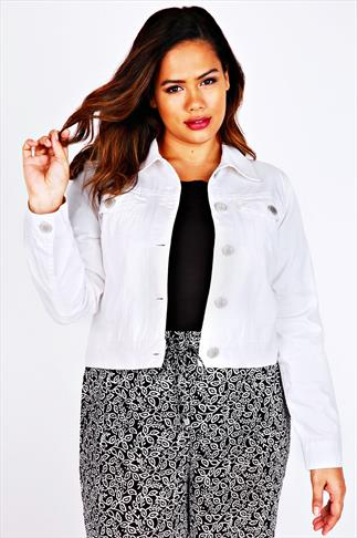 White Denim Western Jacket With Long Sleeves