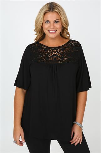 Black Jersey Short Sleeve Top With Crochet Panel