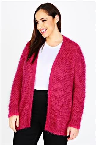 Hot Pink Eyelash Knitted Cardigan