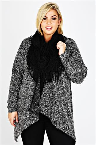 Black Knitted Tassel Snood