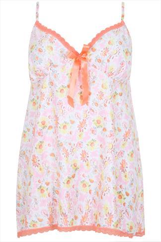 Pink Multi Daisy Floral Print Satin Babydoll