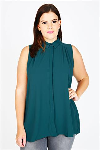 Teal Sleeveless Crepe Button-Up Shirt With Pleating Detail