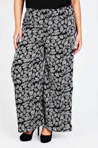 Black & White Leaf Print Woven Wide Leg Palazzos