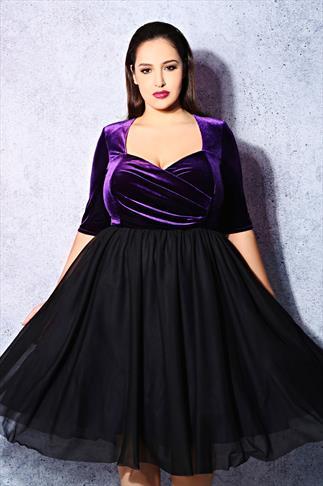 SCARLETT & JO Black & Purple Velvet Prom Dress