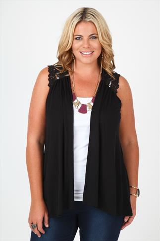 Black Jersey Waistcoat With Crochet Lace Shoulder Detail