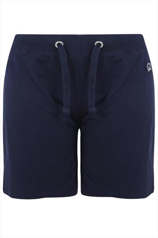 Navy Jogger Shorts With Silver Crown Detail