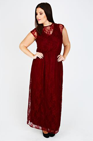 Wine Maxi Dress With Lace Overlay